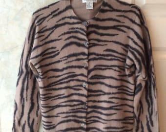 Vintage 80s tan black tiger striped cardigan sweater, angora rabbit hair cardigan sweater, taupe charcoal grey soft cardigan sweater sz M