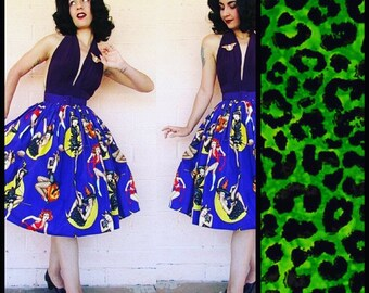 Green Leopard Gathered Pinup Skirt