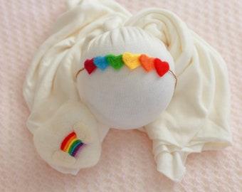 Rainbow felted heart/tieback set, Baby girl prop, Newborn tieback, hair accessories, photography prop, hearts headband, felted rainbow heart