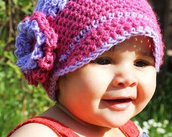 6 to 12m Pink Flower Newsgirl Baby Hat - Baby Girl Newsboy Hat Purple Crochet Hat Flapper Flower Hat Baby Photo Prop