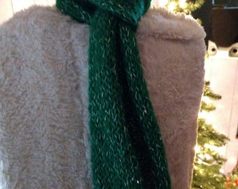 Green Holiday Sequin Hand-knit Scarf