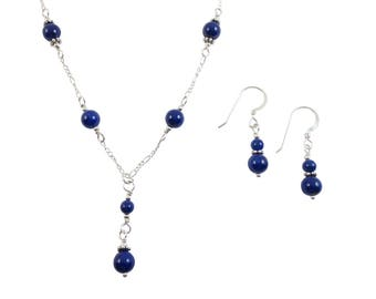 Lapis Lazuli Necklace & Earrings Set