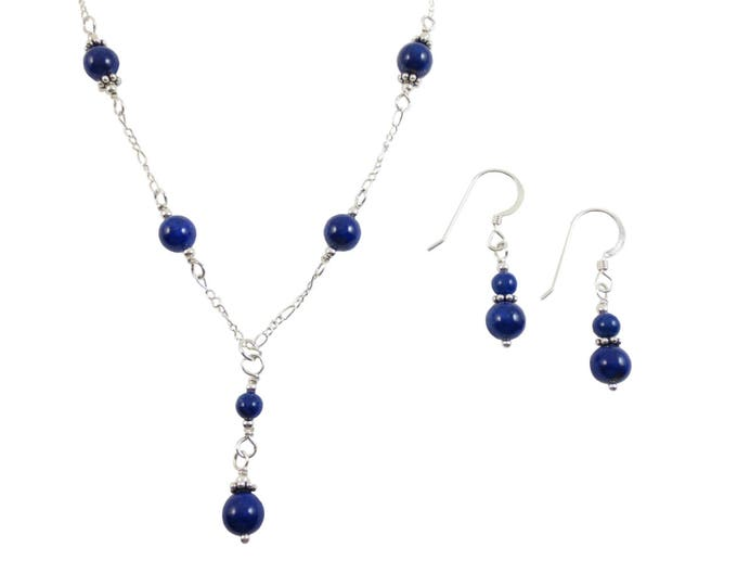 Lapis Lazuli Necklace & Earrings Set