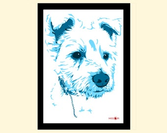 Pet Loss, Custom Pet Portrait, Bespoke Art, Digital Print, Animal Print, Pet Art, Dog Art, Terrier, Dog Print, Terrier Artwork, Digital Art