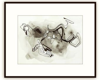 Abstract fine art geometric, original black ink painting on handmade watercolor paper, black ink zen wall art Victoria Kloch
