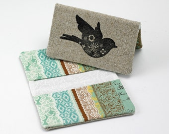 Business Card Case, Credit Card Holder, Fabric Ladies Wallet in Turquiose and Aqua Lace Print
