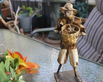 """Mexican Folkart Paper Mache Spanish Man Carrying Basket Of Berries 12-1/2"""" x 5-1/2"""""""