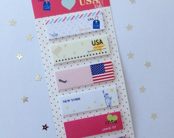 USA StickyNotes, Post-it, paper (Paper) 16 cm long (length), 6 cm wide (wide)