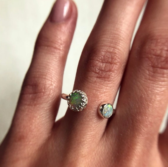 """Sterling silver """"Aria"""" ring with Australian crystal opals SZ 7"""