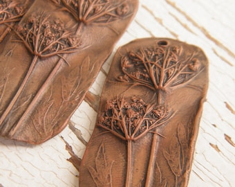 Rustic Copper Brown - Queen Anne's Lace rustic boho chic painted pressed flower focal pendant (ready to ship)