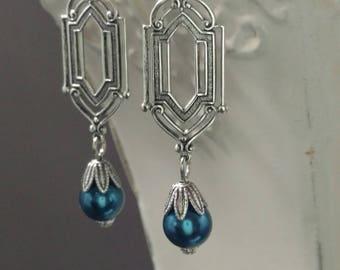 Art Deco Earrings - Art Deco Jewelry - Navy Blue Pearl Earrings - Great Gatsby Wedding -  Bridesmaid Earrings - Downton Abbey Style Jewelry