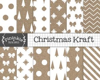 Christmas Digital Paper, Christmas Scrapbook Paper, Kraft Digital Paper Pack, Kraft Scrapbook Paper, Christmas Kraft Paper, Digital Image
