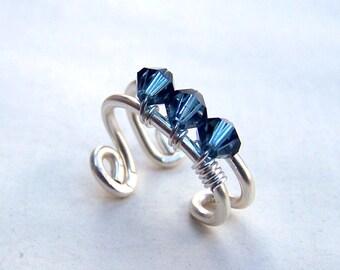 Ear Cuffs Sapphire Jewelry Sterling Silver Ear Wrap with Swarovski Crystals Earcuff December Birthstone Birthday