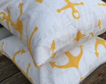 Pillow Cover/ Shabby Chic Pillow Cover/ Yellow and White Anchor Pillow Covers/ 2 Pillow Covers