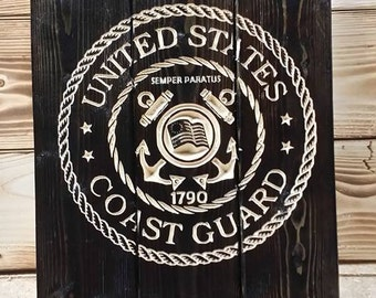 Carved United States Coast Guard Pallet Sign, FREE SHIPPING in the USA