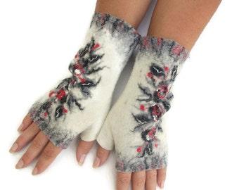 Felted Fingerless Gloves Fingerless Mittens Arm warmers Wristlets Merino Wool Gray Red White Floral