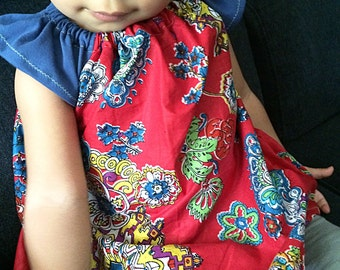 Baby / toddler girl printed tunic top // red and blue top