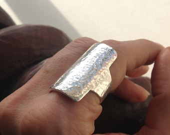 Hammered Minimalist Rectangular Shield Ring in .925 Sterling silver /  Made in Australia
