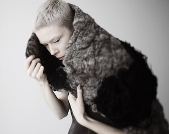Felted shoulder wrap/ contemporary felted wrap/ hand felted wrap