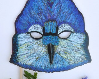 Blue Jay Mask / Bird Mask /Hand-Held