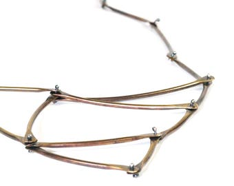 Brass Kinetic Triangle Necklace