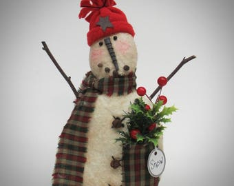 Rustic Snowman decor | Primitive  Snowman | Christmas decoration | Fabric Snowman | Winter decoration | Lodge Snowman decor