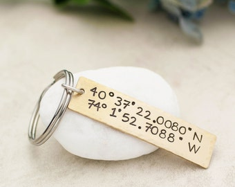Coordinates Keychain, Personalized Gift, Boyfriend Gift, GPS Longitude Latitude, Custom Coordinates Keychain, Graduation Gift, Anniversary