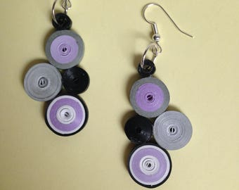 Earrings white purple rolled paper quilling black grey mix