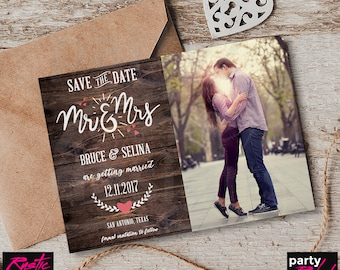 Rustic Save The Date, Mr and Mrs, Save The Date Photo, Postcard, Rustic Wedding, Rustic Invitation, Save The Date Printable, STD47