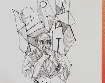 Pablo Picasso 8.5 x 11 ink line drawing portrait