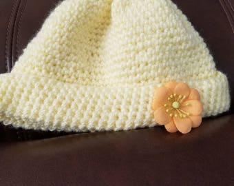 Yellow baby hat, hand crocheted