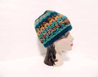 Messy Bun Hat,  Muddy Reef Colors, ponytail beanie, teen girl gift, beach hat, crochet bun hat, Christmas gift