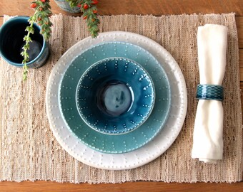 Handmade Dinnerware - Ocean Blue Ombré - Dinner, Salad Plate and Bowl - 3 Piece Set - MADE TO ORDER
