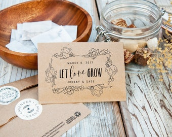 Wildflower Seed Wedding Favors - Let Love Grow - Personalized Bag with Seeds INCLUDED - Seed Favor - 30 Packets or more