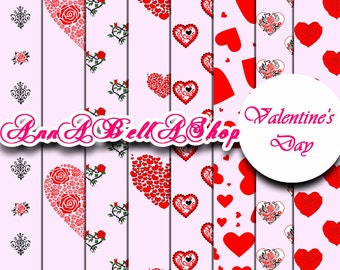 80% OFF SALE Digital Papers Valentine Day 4 - Scrapbook Supplies, digital paper pack, Love Hearts, valentines digital