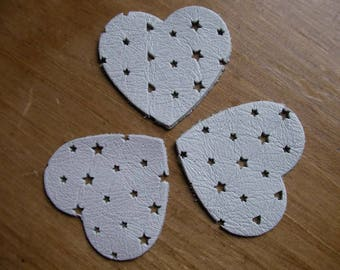 set of 3 hearts White leather