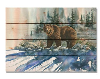 Bartholet's Too Close for Comfort, Brown Bear Watercolor Print on Wood, Grizzly Wall Hanging Home Decor (DBTCC)