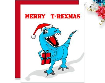 Kids Christmas Card - Dinosaur Card - Kids Christmas - Christmas Card for Kids