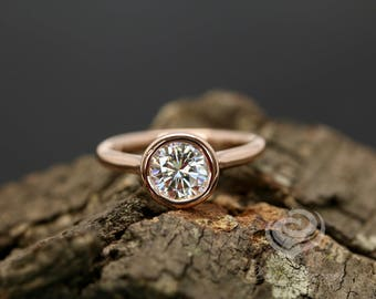 FOREVER ONE Certified 7mm/1.25 Carats Round Cut D-F Color Moissanite 14k Rose Gold Bezel Set Engagement Ring(Other Metals & Stone Available)