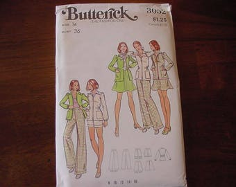 VINTAGE 1970s Butterick Pattern 3052, Misses Semi Fitted Jacket, Flared Skirt, Wide Legged Pants or Shorts, Size 14 Bust 36 Uncut