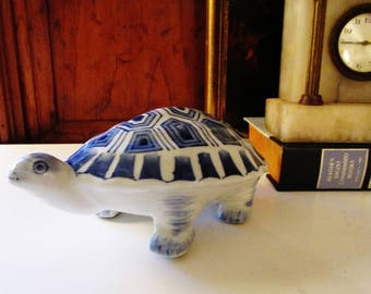 Blue and White Porcelain Turtle, Palm Beach Decor, Chinoiserie, Blue and White Decor, Coffee Table Decor