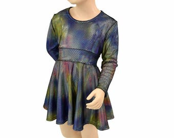 Toddlers and Girls Size 2T 3T 4T and 5-12  Velvet Oil Spill Long Sleeve Fit and Flare Skater Dress  151964