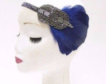 Navy Blue Dark Grey Silver Feather Headband 1920s Flapper Vintage Headpiece 2817