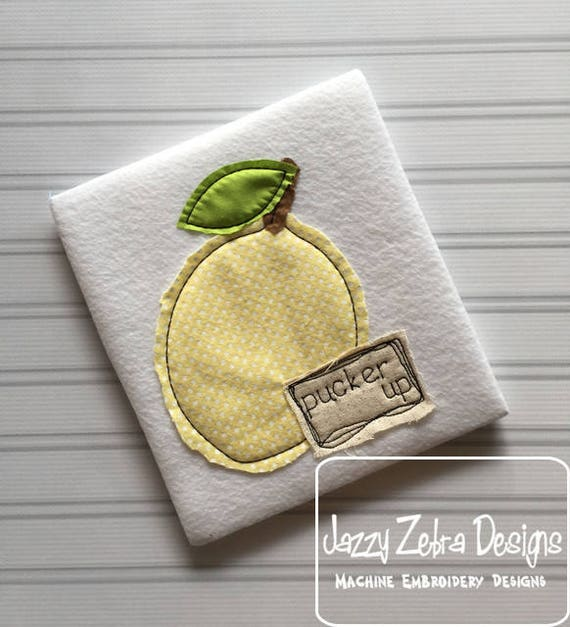 Pucker up Shabby Chic Appliqué design - lemon appliqué design - vintage appliqué design - fruit appliqué design - bean stitch appliqué