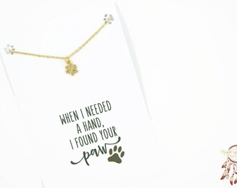 Gold paw bracelet   paw print bracelet, animal bracelet, minimalist bracelet, gift for her, quote card, dog, cat, animal, gift, bohemian