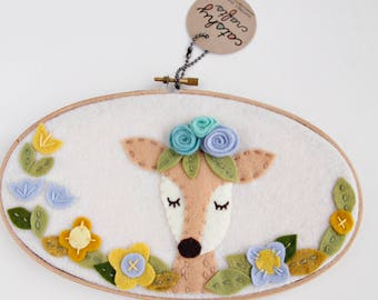 Boho Nursery Girl / Woodland Deer / Embroidery Hoop Art / Deer Wall Art / Boho Nursery Decor / Woodland Nursery / Felt Flowers /Doe Wall Art
