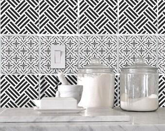 Kitchen bathroom Tile Decals Vinyl Sticker :  Black and White Duo BW003