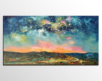 Oil Painting Landscape, Canvas Art, Original Art, Abstract Art, Starry Night Sky Painting, Oil Painting, Abstract Painting, Bedroom Wall Art