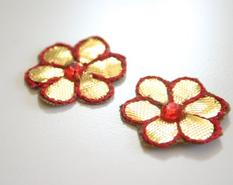 Sinfully Red - Applique with Sequin/Bead/Rhinestone (1pair)