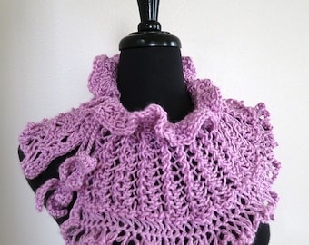 Charming Collar Lavender Light Purple Violet Color Knitted Lacy Fairy Collar Necklet Cowl Capelet with Crochet Leaf Ties
